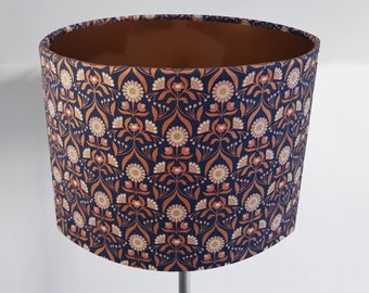 Handmade Retro Bronze Flower Lampshade - Metallic Lining Light Ceiling Blue