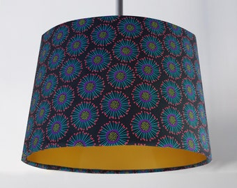 Handmade Purple & Green Dandelion Lampshade - Metallic Lining Light Ceiling Teal