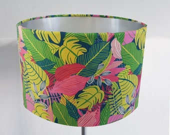 Handmade Tropical Green Leaf Lampshade - Metallic Lining Light Ceiling Pink