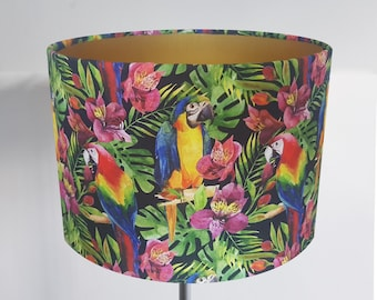 Handmade Tropical Parrot Lampshade - Metallic Lining - Light Shade Ceiling Bird