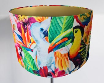 Bronze, Gold or Silver Lined Handmade Velvet Tropical Bird Lampshade - Cockatoo Parrot Toucan Copper Light Shade Vintage