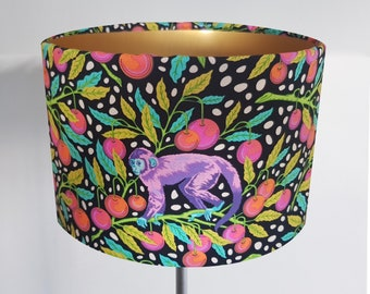 Handmade Monkey Lampshade - Metallic Lining - Light Shade Ceiling Gold Jungle