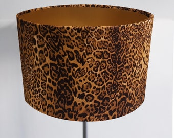 Leopard Print Lampshade with Bronze, Gold or Silver Lining - Luxury Retro Animal Tiger