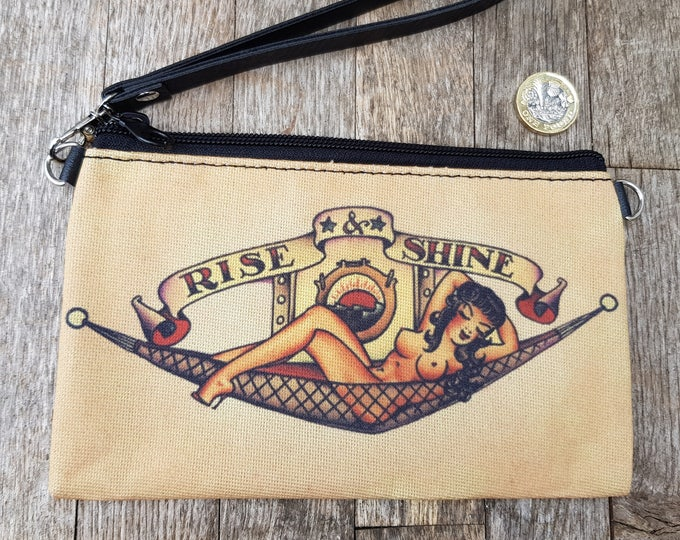 Vintage Sailor Pin Up Girl Tattoo Purse - Rockabilly Retro Clutch Bag