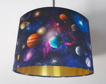 Handmade Galaxy Lampshade - Metallic Light Gold Space Planets