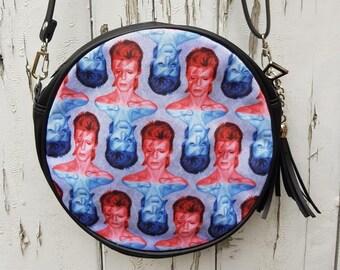 Red & Blue Aladdin Bowie Sane Handbag - Vintage Lightning Bolt Bag Clutch