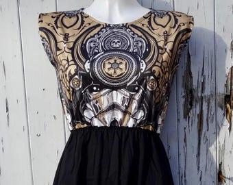 Stormtrooper Samurai Black Dress - Size 10 12 14 - Star Wars Tattoo Rockabilly Alternative Skater