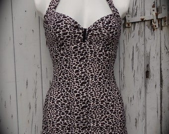 1950s Pin Up Girl Leopard Print Swimming Costume 10 12 14 - Retro Vtg Swimsuit Rockabilly