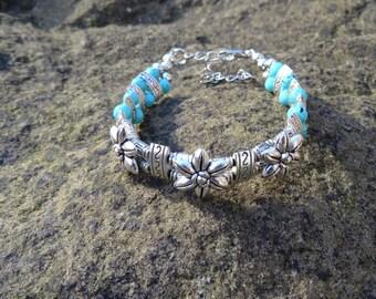 Spiritual Blue Flower Bracelet - Organic Beach Festival Surf Ethnic World Asian Tribal Tribe Alternative