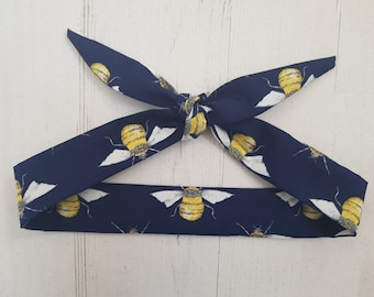 Navy Blue Bee Baby Head Scarf