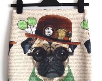 Vintage Gentleman Pug Skirt - Size 8 10 12 14 - Mini Bodycon Art Dog Retro Hat Digital Print Retro Wiggle 1950s Geek Chic Glasses Cute