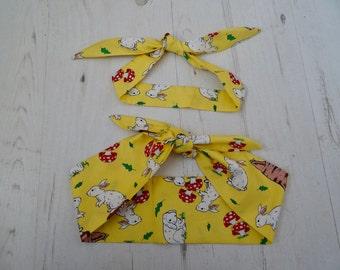 Matching Mum & Baby/Toddler Head Scarf - Yellow Rabbits