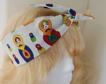 50s Vtg Russian Doll Head Scarf - With Wire/Not