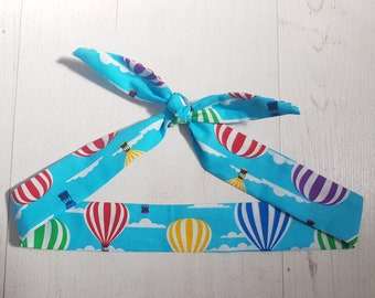 Baby or Toddler Head Scarf Bow - Blue Hot Air Balloon