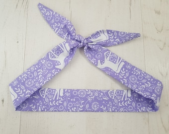 Baby or Toddler Head Scarf Bow - Purple Scandinavian Unicorn
