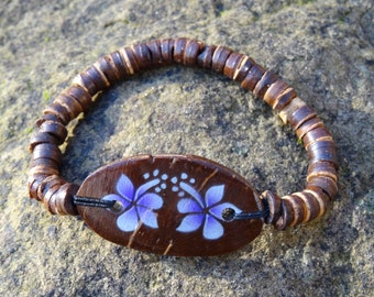 Wooden Coconut Purple Hibiscus Flower Bracelet - Organic Beach Festival Surf Ethnic World Asian Tribal Tribe Alternative Gap Year