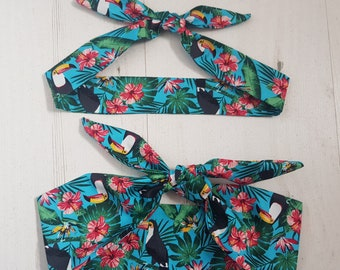 Matching Mum & Baby/Toddler Rockabilly Head Scarf - Turquoise Tropical Toucan and Hibiscus