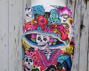 Day of the Dead Skeleton Mini Skirt - Size 8 10 12 14 16 - Dia De Los Muertos Candy Skull
