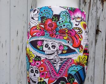 Day of the Dead Skeleton Mini Skirt - Size 8 10 12 14 16 - Dia De Los Muertos Candy Skull