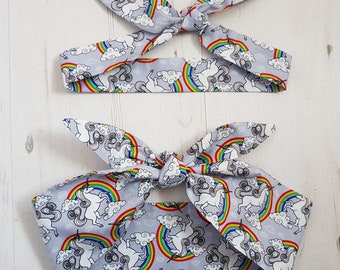 Matching Mum & Baby/Toddler Rockabilly Head Scarf - Unicorn and Rainbow