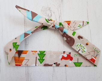 Baby or Toddler Hair Bandana - Woodland Adventure