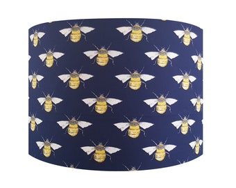 Handmade Navy Blue Bumble Bee Lampshade