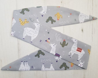 Grey Llama Head Scarf - With Or Without Wire