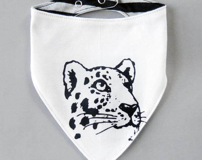 Reversible Leopard Baby Bib - Unisex Stripes Alternative Tattoo Big Cat Boys Dribble Cloth Patch