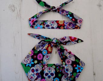 Matching Mum & Baby/Toddler Rockabilly Head Scarf - Black Mexican Candy Skull - Cotton Shower Bandana Boy Girl Gift Mom Mother 1950s Pin Up
