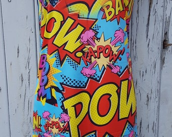 Comic Book Pow Dress - Size 8 10 12 - Bodycon Wiggle Geek Chic Superhero Cartoon