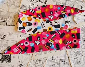 50s Reversible Pink & Cream Liquorice Allsorts Head Scarf Band Hair Wrap Wire