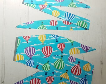 Matching Mum & Baby/Toddler Rockabilly Head Scarf - Blue Hot Air Balloon