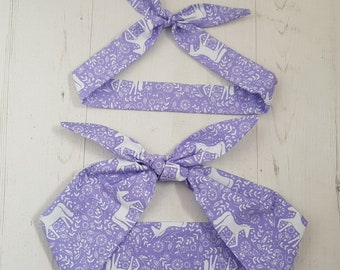 Matching Mum & Baby/Toddler Rockabilly Head Scarf - Purple Scandi Unicorn