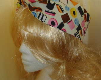 50s Vtg Liquorice Allsorts Head Scarf Wired / Not - Retro Sweets Hair Tie Kawaii