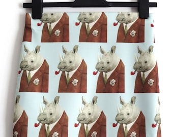Gentleman Pipe Smoking Rhino Frank Skirt - Size 12 14 - Mini Body Digital Print  Alternative Dapper Pipe Suit Animal Rhinoceros