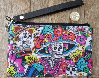 Day of the Dead Skeleton Purse - Dia De Los Muertos Candy Skull Halloween Black Clutch Bag
