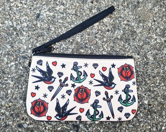 Vintage Tattoo Purse - Swallow Nautical Sailor Jerry Anchor Ethical Phone Case