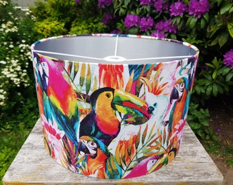 Handmade Tropical Painted Bird Lampshade - Metallic Lining - Light Shade Ceiling
