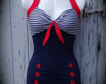 Retro Girl Swimsuit Etsy