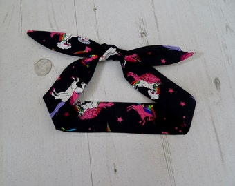 Baby or Toddler Head Scarf - Black Unicorn and Rainbow - Cotton Bib Baby Shower Bandana Bib Boy or Girl Gift