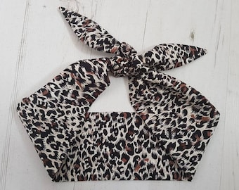 50s Leopard Print Head Scarf With Wire or Not Rockabilly Vtg Tiger Animal Sexy