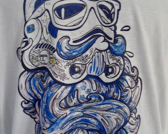 Women's Blue Bearded Geek Stormtrooper T-Shirt - UK 12 14 16 - Tattoo Darth Vader Beard Alternative