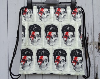 Vintage Bowie Skull Backpack - Bag Gym Handbag Vintage Aladdin Sane Alternative