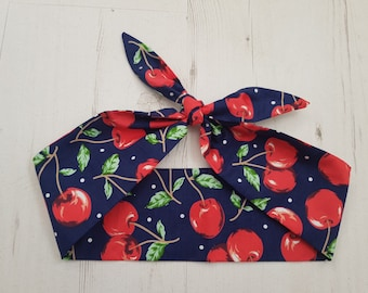 1950s Vintage Blue Cherry And Polka Dot Head Scarf - Burlesque Hair Tie Cherries