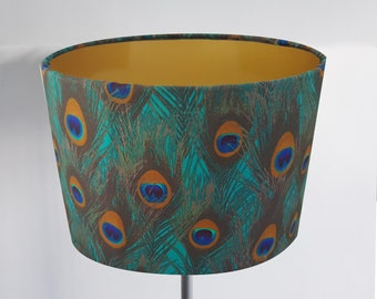 Handmade Gold Peacock Feather Lampshade - Metallic Light Ceiling Bird