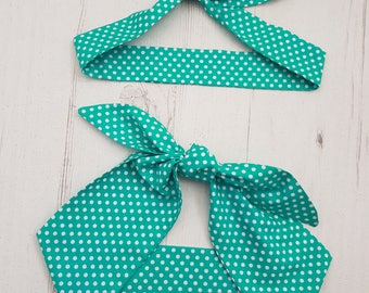 Matching Mum & Baby Rockabilly Head Scarf - Teal Green Polka Dot  - Cotton Shower Bandana Boy Girl Gift Mom Mother Unisex 1950s Pin Up