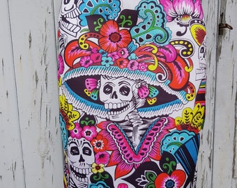 Day of the Dead Skeleton Pencil Skirt - Size 8 10 12 14 - Bodycon Wiggle Dia De Los Muertos Candy Skull