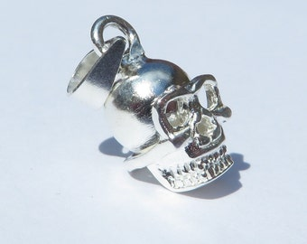 925 Genuine Silver Skull Charm  - 92.5% Sterling Necklace Weddings Christening Bride Bridesmaid Flower Girl 21st sweet 16 Birthday Gift