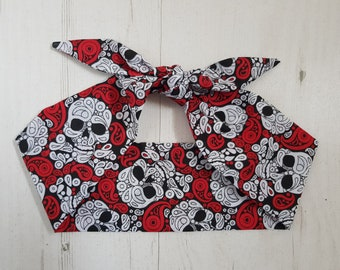 Gothic Red Paisley Skull Head Scarf