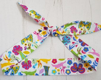 Baby or Toddler Head Scarf - Scandi Colourful Rabbit and Butterfly